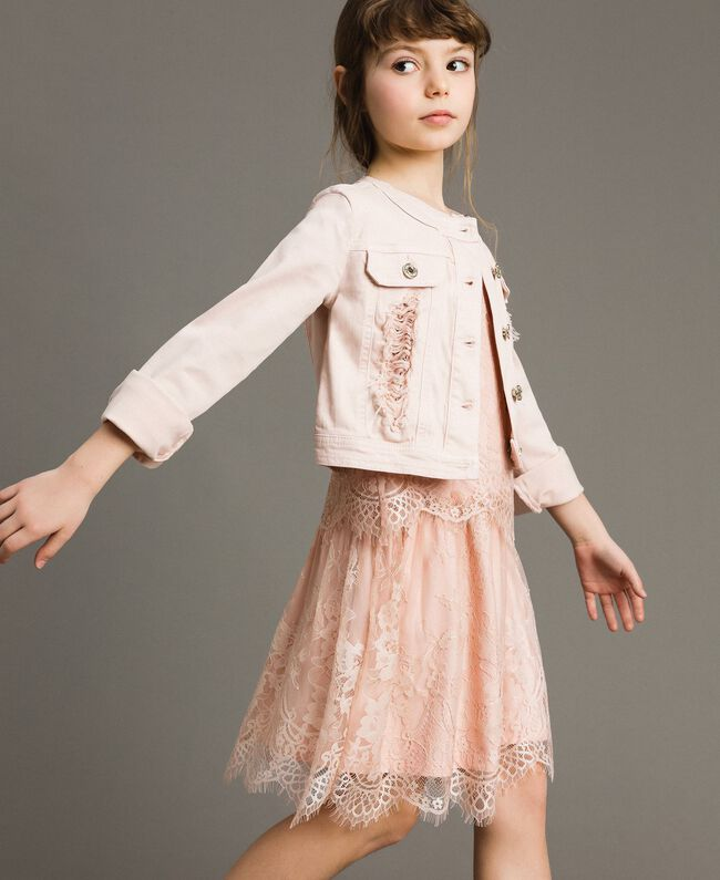 Bull stretch jacket with lace Blossom Pink Child 191GJ2062-03