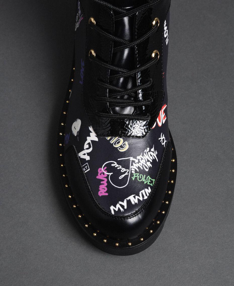 Faux leather combat boots with graffiti print Black Graffiti Print Woman 192MCP09G-03