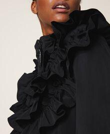 Wattierter Mantel aus Taft mit Rüschen Schwarz Frau 202ST2100-06