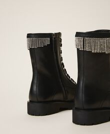 Leather combat boots with fringes Black Woman 202TCT100-04