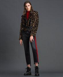 Faux fur animal print biker jacket Animal print Woman 192MP2040-0T