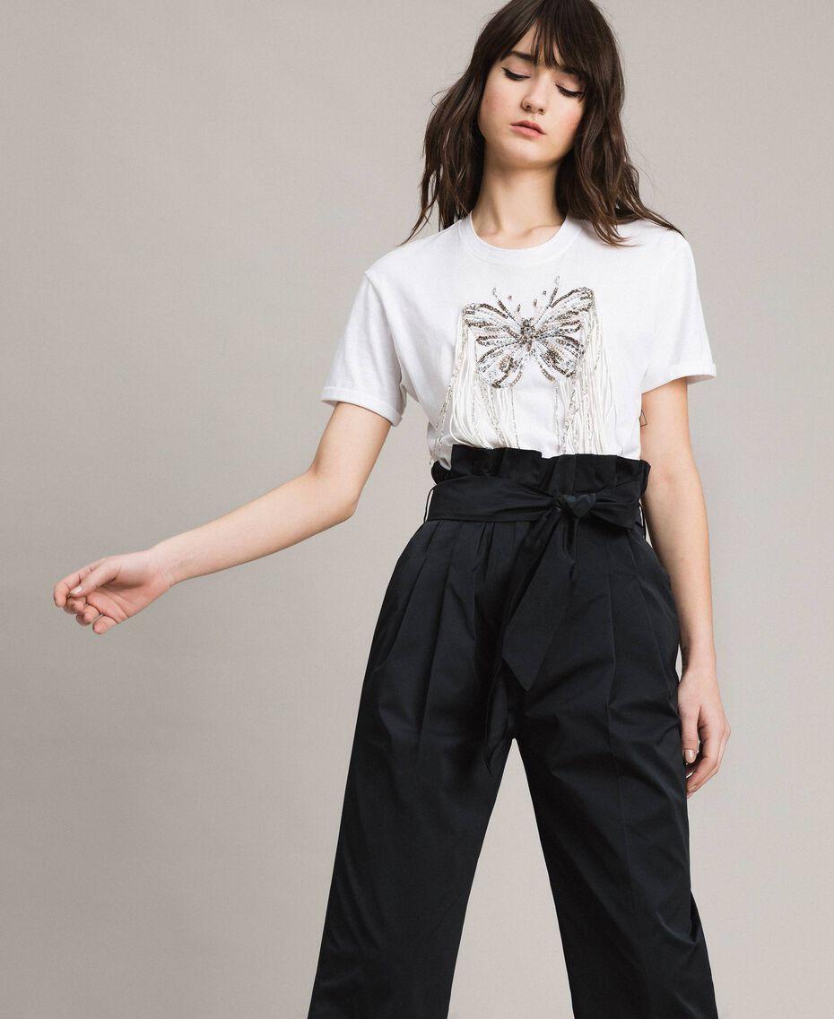 T-shirt avec broderie papillon et franges Blanc Femme 191TP2600-01