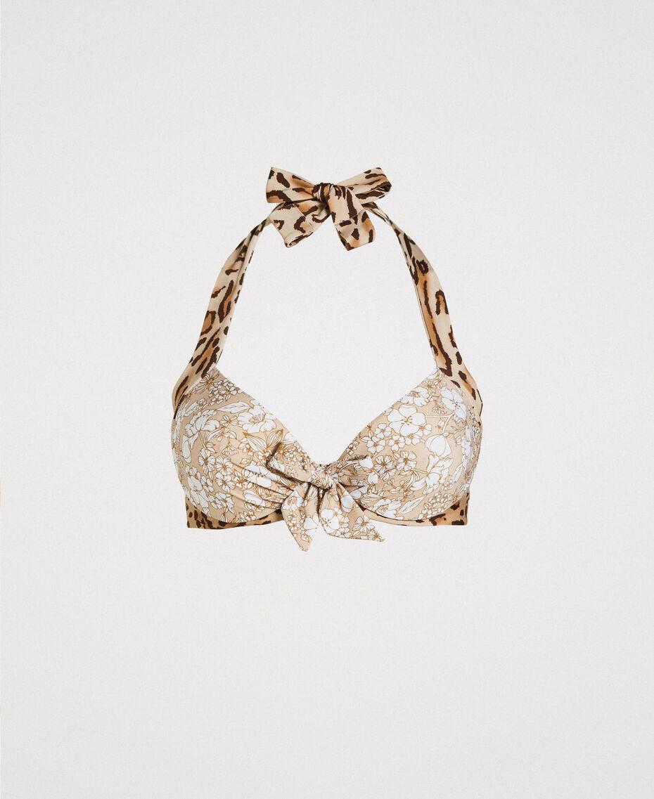 """Bügel-Bikinitop mit Blumenprint Motiv Tiere """"Petra Sandstone"""" Braun Frau 191LMMU55-01"""