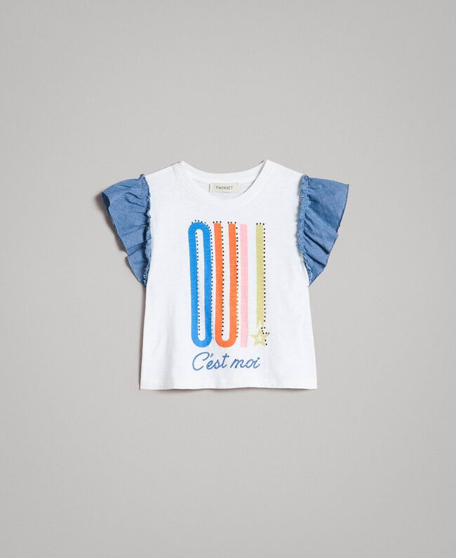 T-shirt en jersey et détails en batiste Blanc Enfant 191GJ2650-01