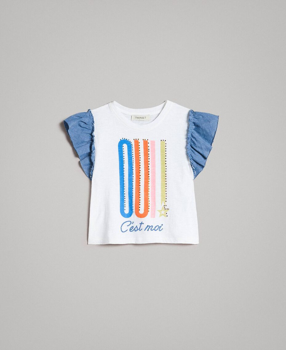 Jersey T-shirt and chambray details White Child 191GJ2650-01