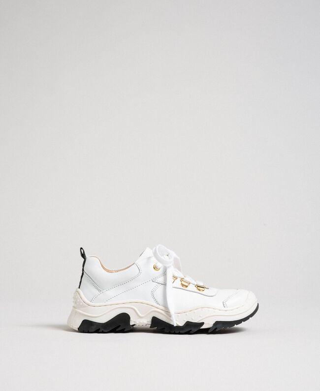 Sneakers in pelle Bianco Bambina 192GCJ028-01