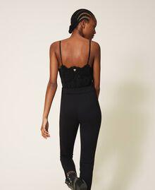 Crêpe de Chine and lace jumpsuit Black Woman 202TT2282-04