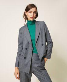 """Wool blend blazer Mottled Gray /""""Lurex"""" Silver Pin Stripe Woman 202TT2170-02"""