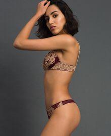 String avec dentelle bicolore Rouge Violet / Beige Foncé Femme 192LL6D88-02