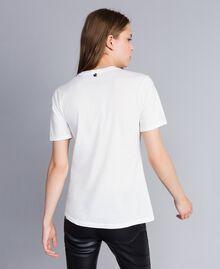 T-Shirt mit Print und Nieten Perlmutt Frau JA82RA-03