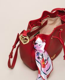 Faux leather bucket bag with scarf Venetian Red Woman 201MA7082-05