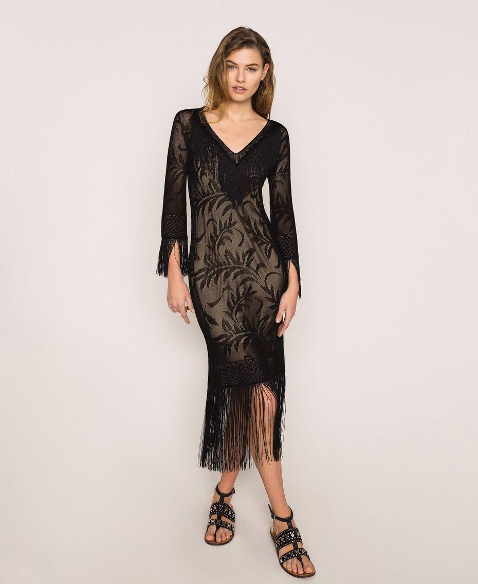 Robe en dentelle filet avec franges Rose «Jazz» Femme 201TT3010-02