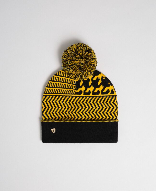 Mütze aus Jacquard-Strick mit Pompon Gelb / Schwarz Frau 192MO531A-01