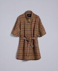 """Cappotto a poncho in macro check Bicolor Quadri Beige """"Cookie"""" / Arancione """"Bruciato"""" Donna TA821C-0S"""