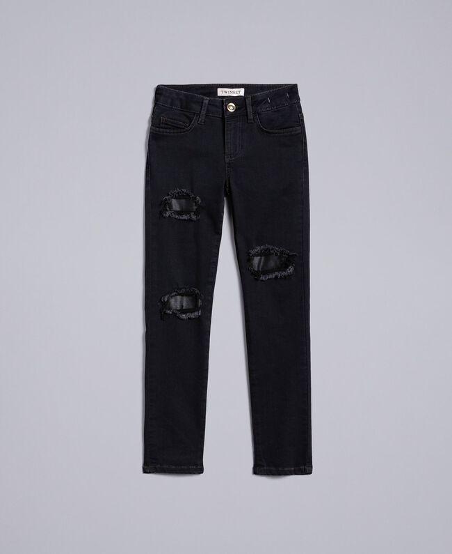 Ripped black denim jeans Dark Grey Denim Child GA82UC-01