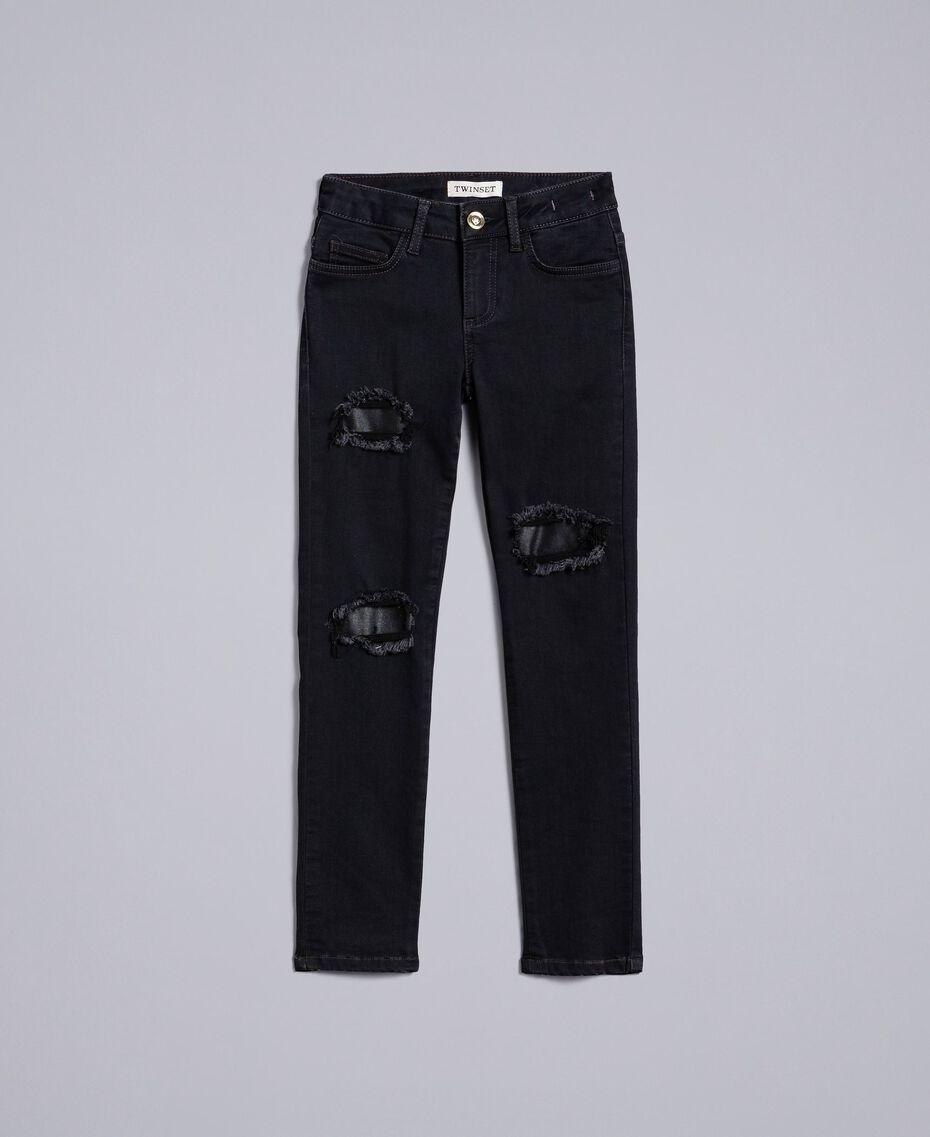 Jeans in denim nero con strappi Denim Grigio Scuro Bambina GA82UC-01