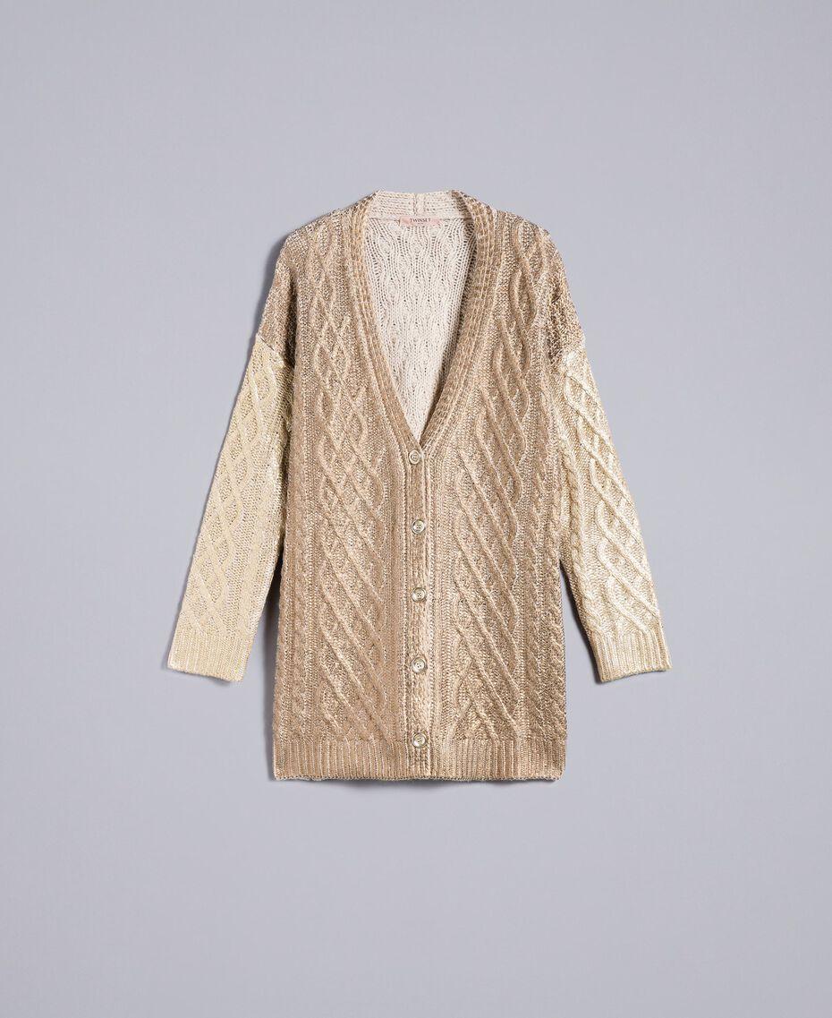 Maxi laminated cardigan Bicolour Bronze / Gold Woman TA831A-0S