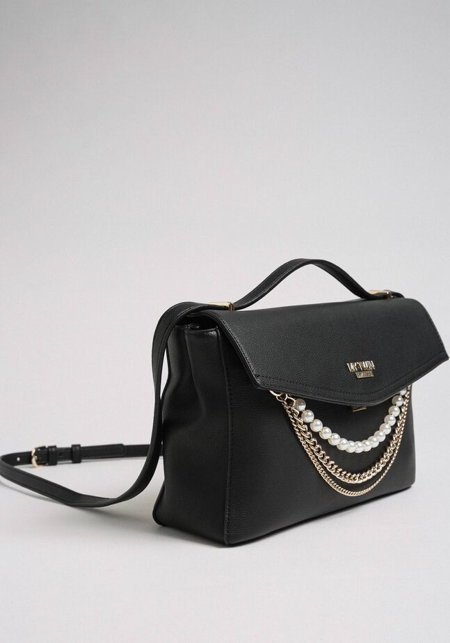 Faux leather shoulder bag with pearls and chains