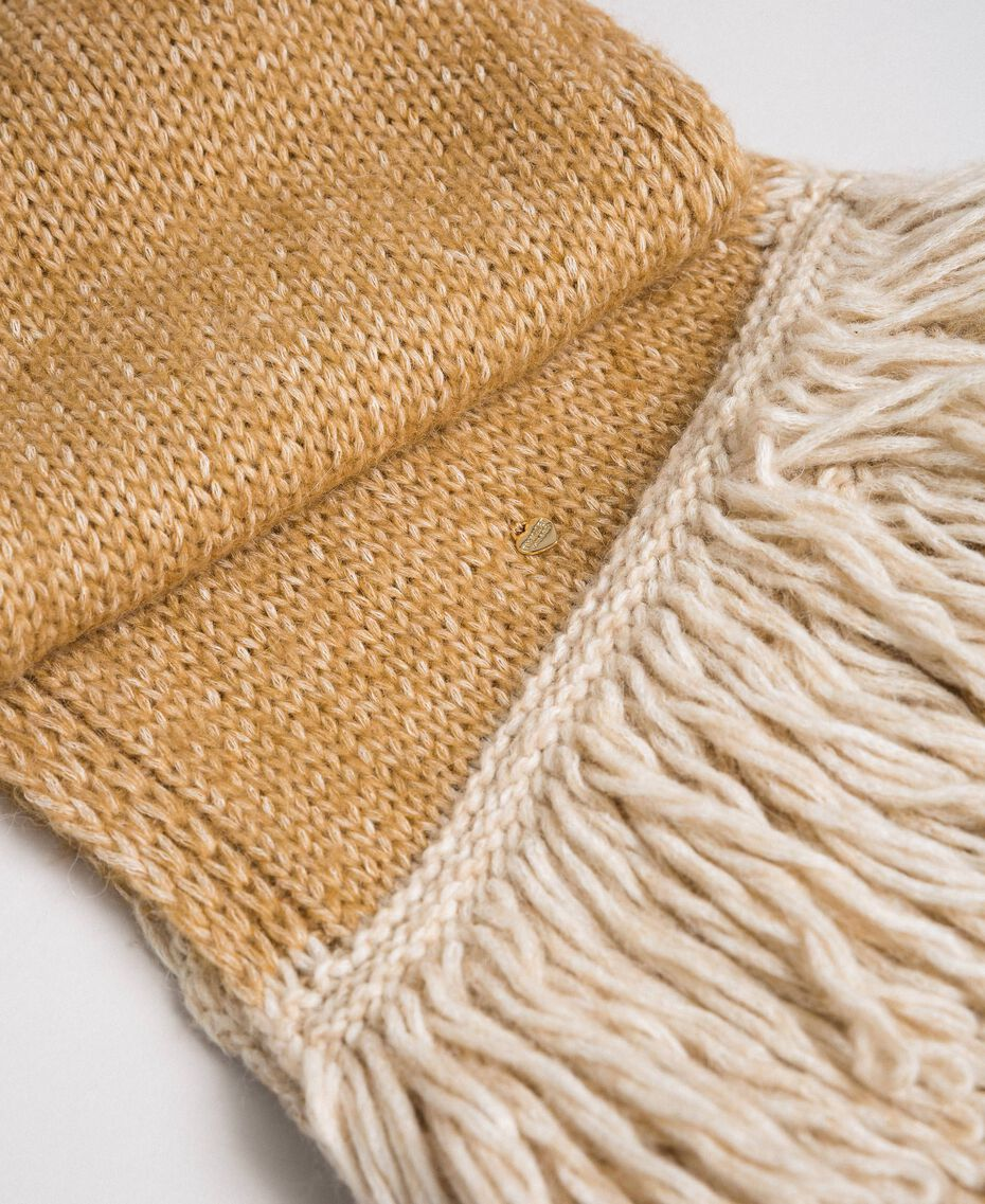 Knit scarf with fringes Camel Woman 192TO5385-02