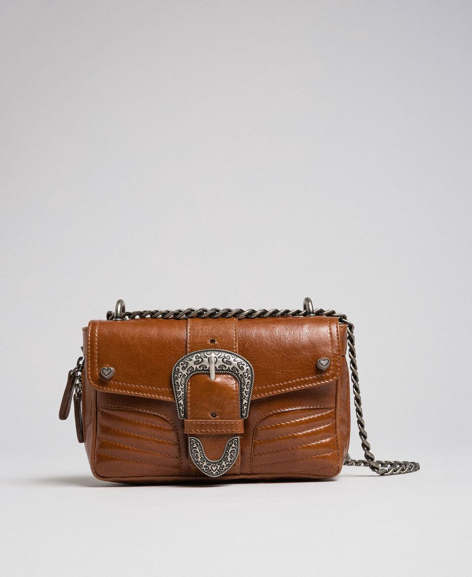 Small Rebel leather shoulder bag Leather Brown Woman 192TO823F-01