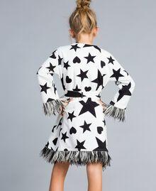 Fleece dressing gown with print Black / Off White Star Print Child GA828B-03