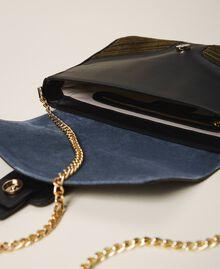 """Grand sac à bandoulière Rebel en cuir lisse et cuir velours Multicolore Bleu Ciel Cendre / Vert """"Vert Olive"""" Femme 202TB7052-05"""