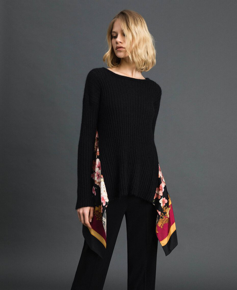 Mohair and printed twill jumper Black / Scarf Print Woman 192TP3062-01