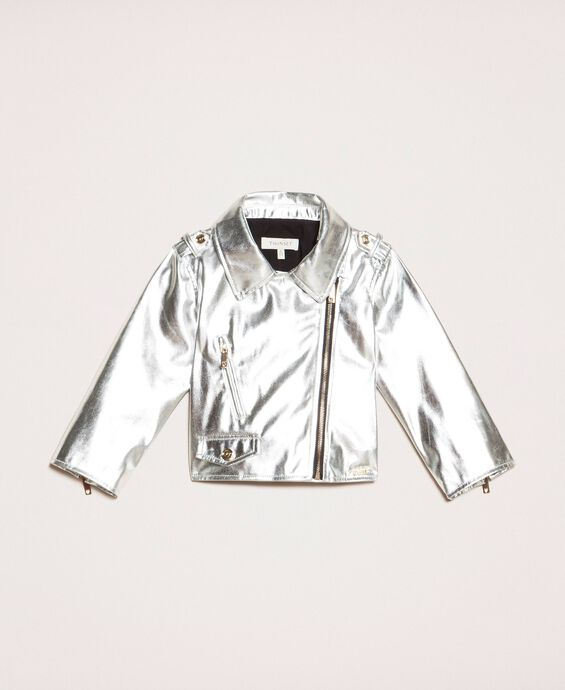 Metal faux leather biker jacket