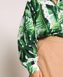 Camicia in popeline stampato Stampa Tropical Pois Verde Donna 201TP2550-05