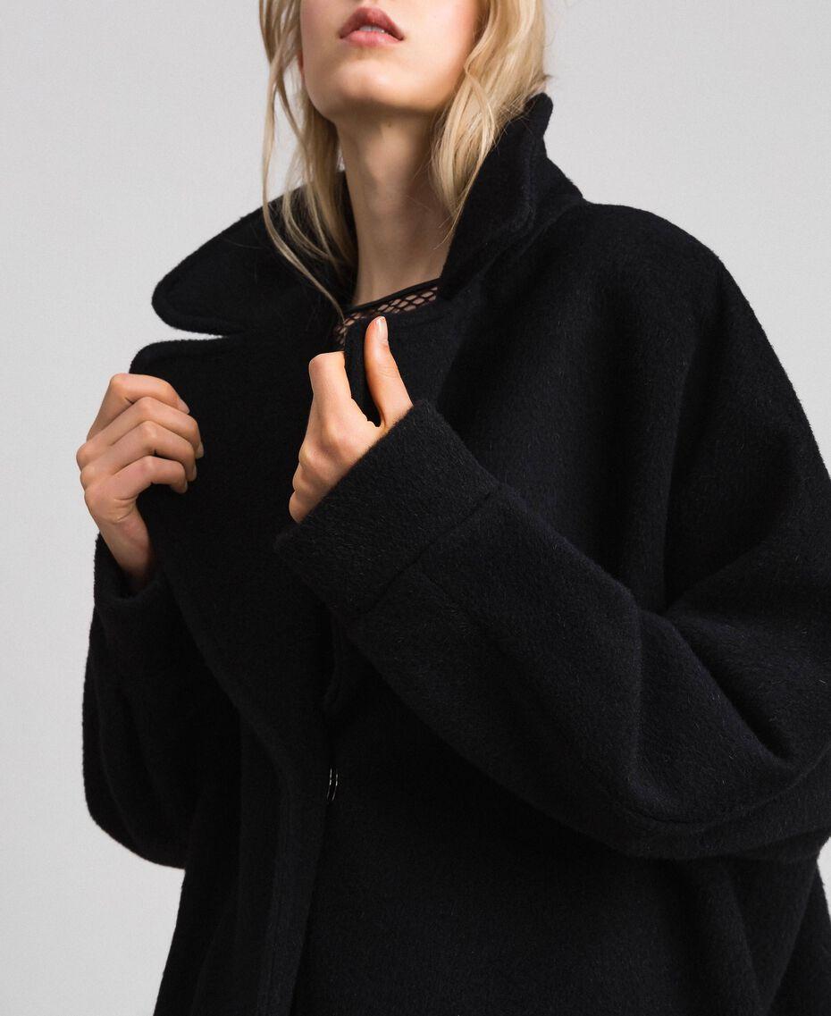 Long wool cloth coat Black Woman 192TT2600-06