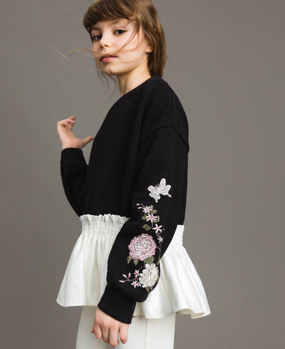 Baumwoll-Pullover mit Satin-Volant Zweifarbig Schwarz / Off White Kind 191GJ2401-0S