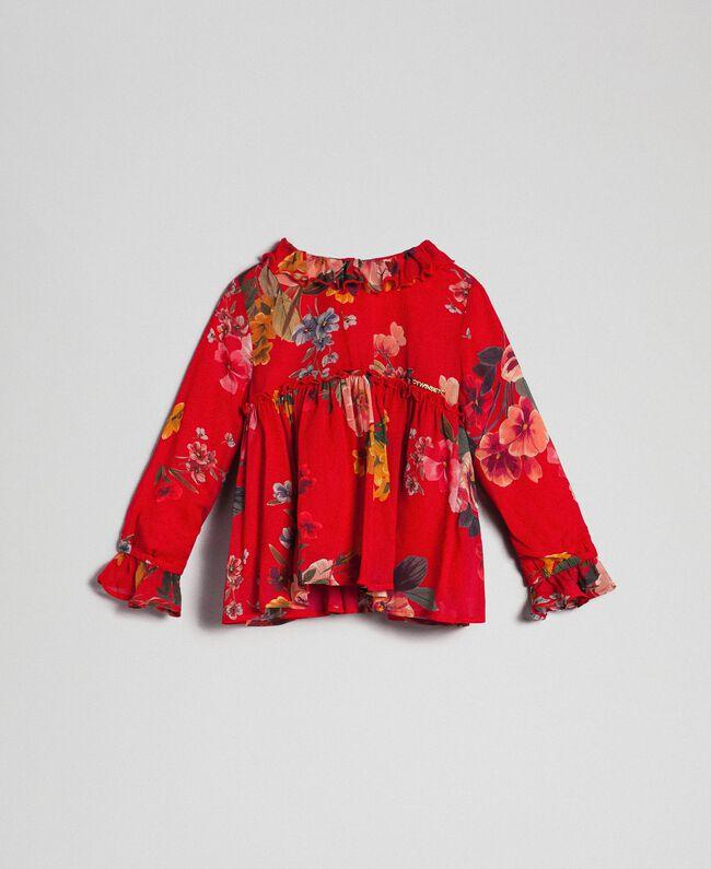 Blouse en crêpe georgette avec imprimé floral Imprimé Fleurs des Champs Grenadier Enfant 192GB2721-01