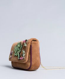 Velvet shoulder bag with embroidery and rhinestones Camel Woman AA8PBN-02