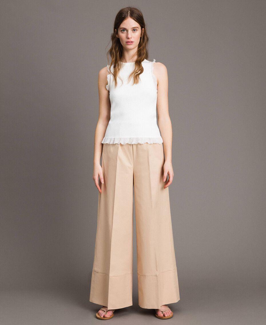 "Pantaloni a palazzo in popeline Beige ""Marzapane"" Donna 191TT223C-01"