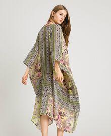"Krepp-langer Kimono mit Schalaufdruck Motiv ""Lemon Juice"" Gelb Schal Frau 191LB2HLL-03"