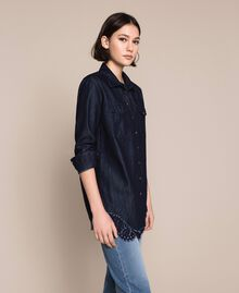 Denim shirt with lace Denim Blue Woman 201MP2402-02