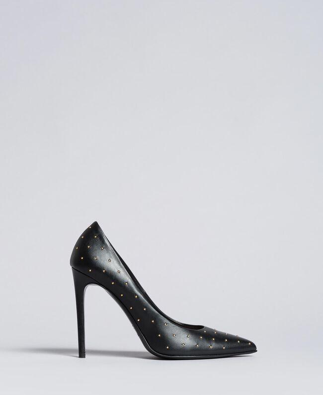Pumps aus schwarzem Leder mit Nieten Schwarz Frau CA8PH1-01