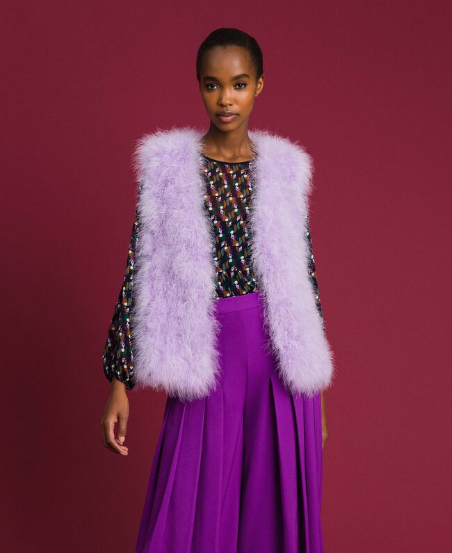 Gilet en plumes Violet «Glycine» Femme 192ST4790-01