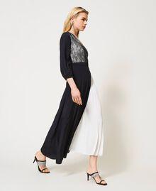 Robe longue avec dentelle de Chantilly et plissé Bicolore Noir / Blanc Optique Femme 211TQ210A-04