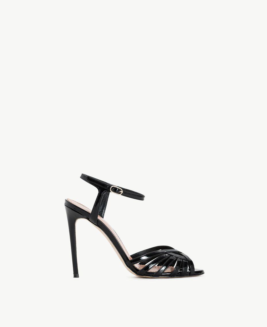 TWINSET Sandalette aus Lackleder Schwarz Frau CS8TBU-01