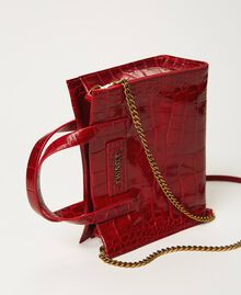 "Small leather Twinset Bag with crocodile print ""Cherry"" Red Croc Print Woman 202TB7111-03"