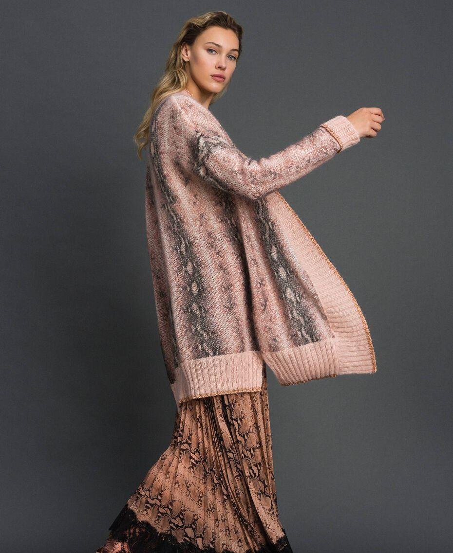 Animal print mohair maxi cardigan Canyon Pink Python Print Woman 192TT3331-02
