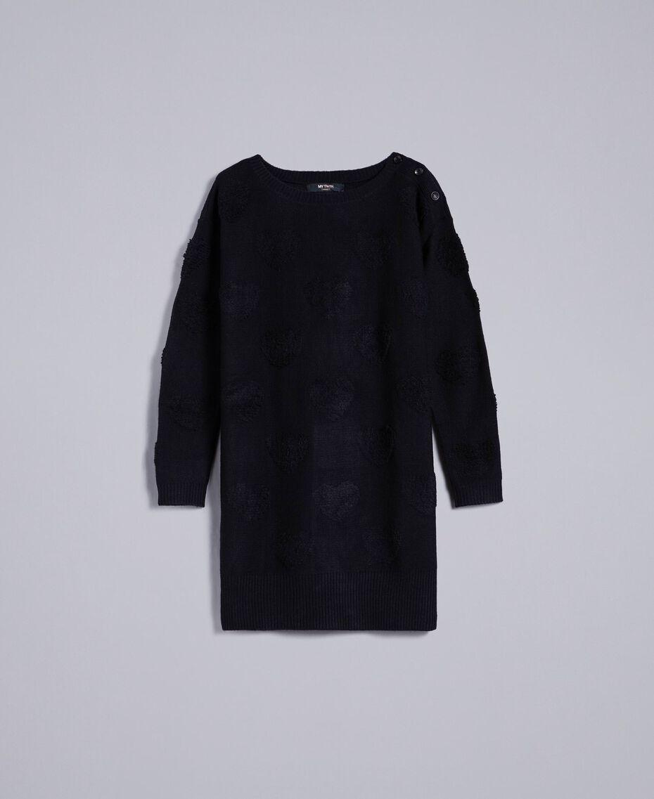 Robe en maille avec incrustation de cœurs Noir Femme JA83E2-0S