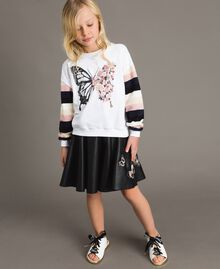 Cotton knitted striped sweatshirt Optical White / Multicolour Striping Child 191GJ2451-02