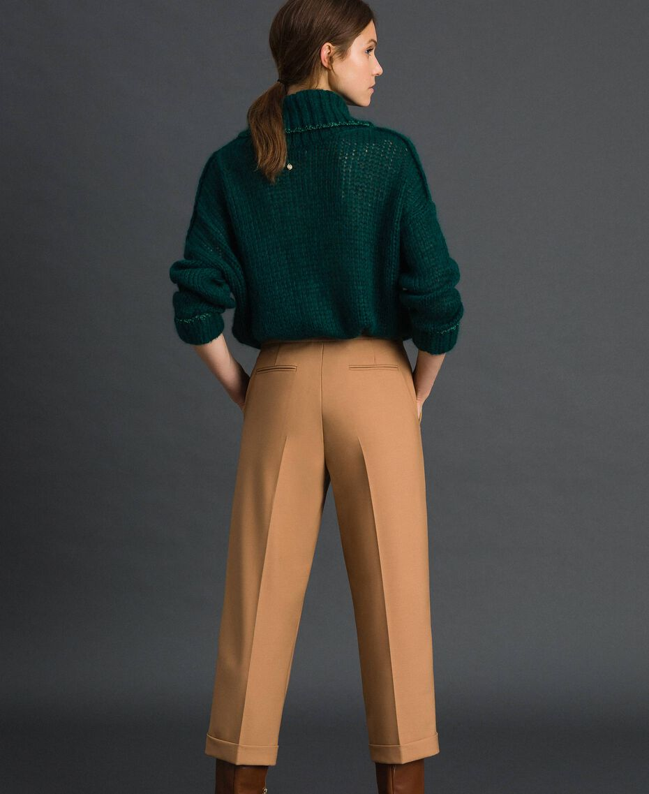 Cigarette trousers in technical wool Camel Woman 192TT2455-03