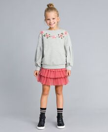 Flounced tulle skirt Dark Rose Child GA82JN-0S
