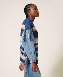 Трикотажная кофта с джинсовыми рукавами Разноцветный Смешанный Синий Трикотаж / Светлый Деним женщина 202MP3466-02