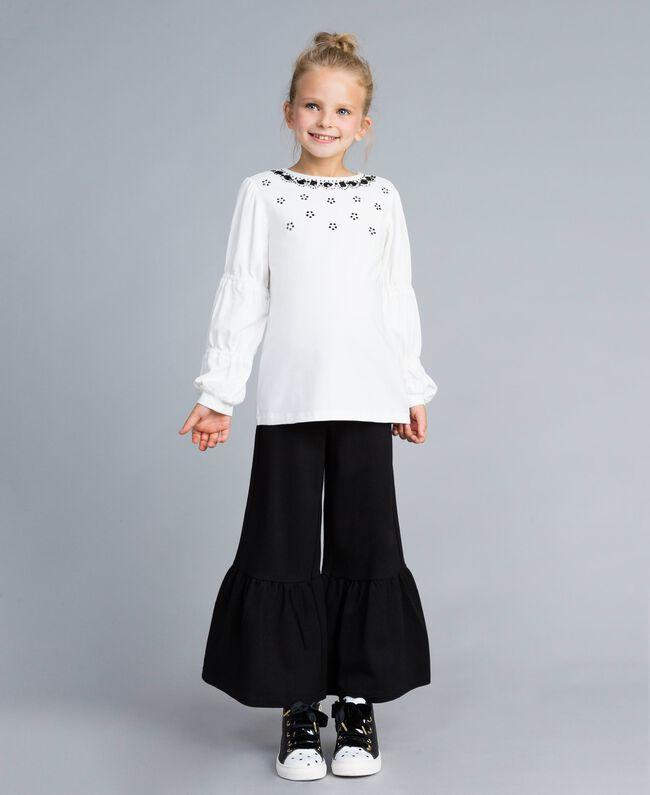 Pantalon évasé en point de Milan Noir Enfant GA82F2-0T