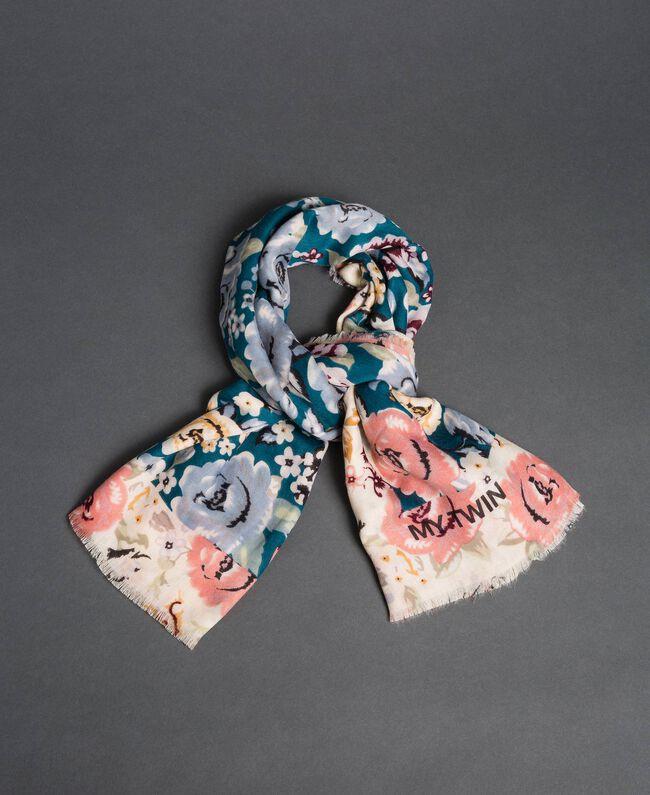 Keffieh avec imprimé floral Imprimé Rose Vanille / Bleu «Lake» Femme 192MA432J-01