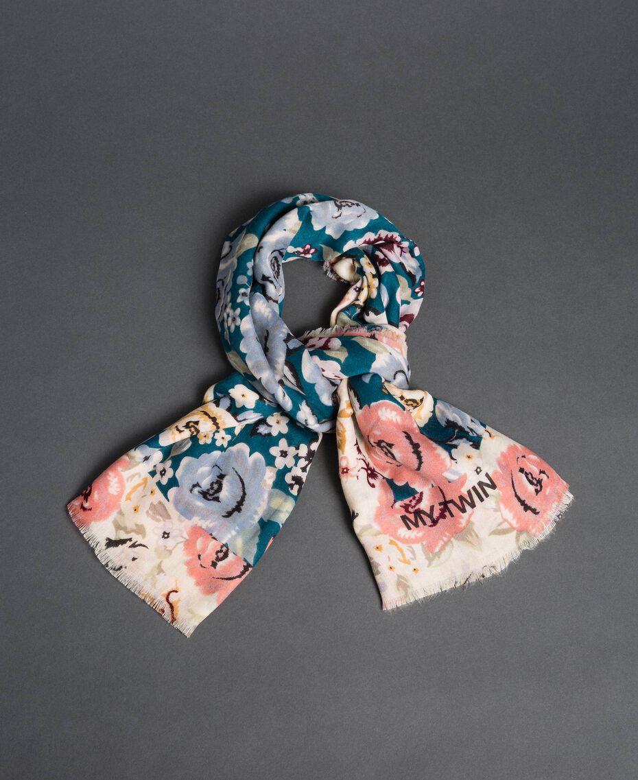 "Floral print kefiah Vanilla Pink / ""Lake"" Blue Print Woman 192MA432J-01"